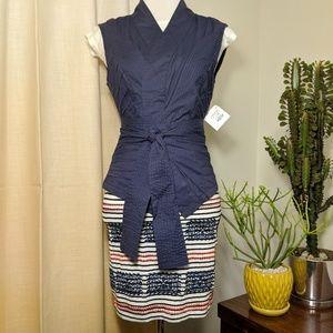 Boo Radley Blue Double Layer Wrap Vest